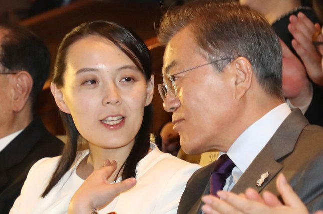 Kim Yo Jong (L) has increased her political clout since the recent session of North Korea's Supreme People's Assembly, according to a South Korean parliamentary report. File Photo by Yonhap/EPA-EFE