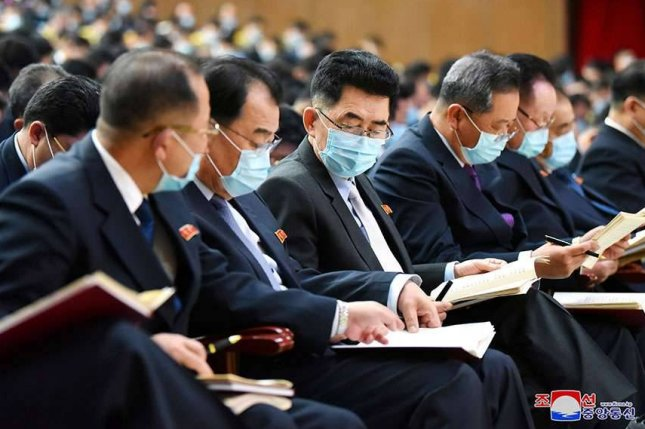 North Korea's Eighth Party Congress continued for the seventh day on Monday, according to state media Tuesday. Delegates were seen wearing masks indoors for the first time. Photo by KCNA