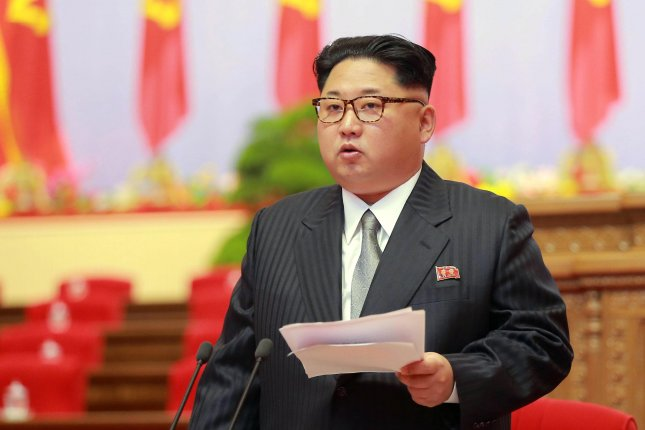 North Korean leader Kim Jong Un speaking during the 7th Congress of the Workers' Party of Korea on May 6, 2016. On Thursday, Kim responded to U.S. President Donald Trump's United Nations speech with a lengthy statement that included several insults and threats. Photo by EPA/KCNA