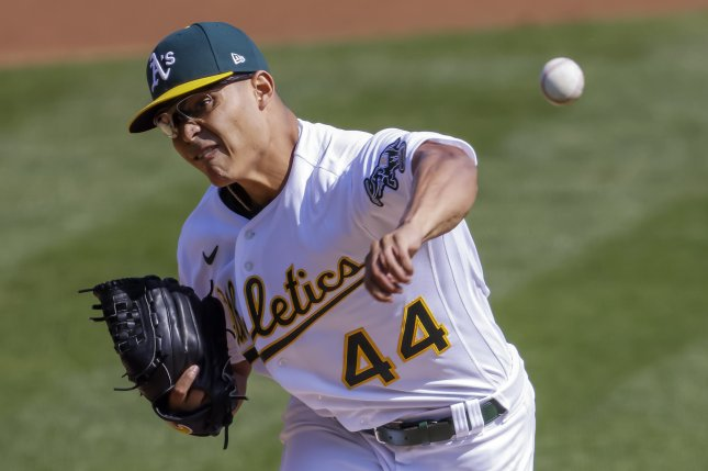 Oakland Athletics left-hander Jesus Luzardo, shown Sept. 29, 2020, has a hairline fracture in his left hand. File Photo by John G. Mabanglo/EPA-EFE