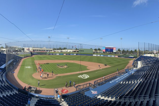 The Washington Nationals, who share FITTEAM Ballpark of The Palm Beaches in West Palm Beach, Fla., with the Houston Astos for spring training, were among the teams to release players Thursday. Photo by Alex Butler/UPI