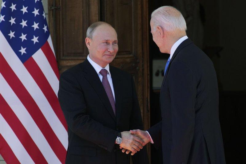 Russian President Vladimir Putin greets U.S. President Joe Biden during a summit in Geneva, Switzerland, on June 16. Photo by Alexander Zemlianichenko/EPA-EFE