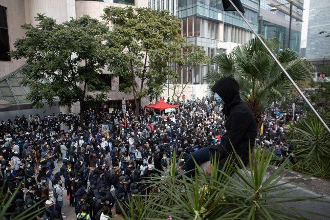 At least eight people were arrested and four police officers were injured indemonstrations calling for universal suffrage in Hong Kong. Photo by Jerome Favre/EPA-EFE