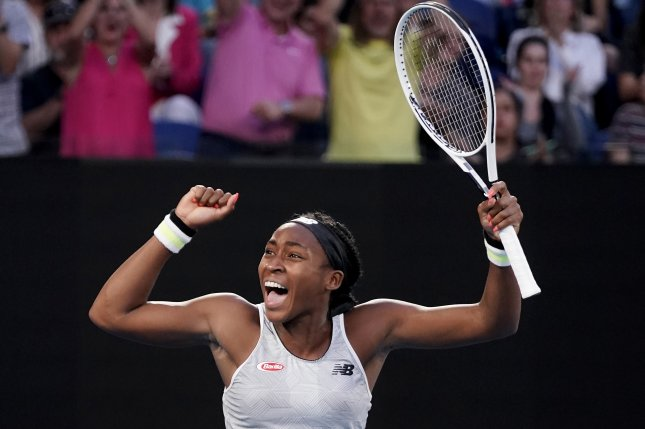 Cori Coco Gauff, 15, clinched a spot in the fourth round of a Grand Slam for the second time in her career by knocking off No. 3 Naomi Osaka Friday in Melbourne. Photo by Dave Hunt/EPA-EFE