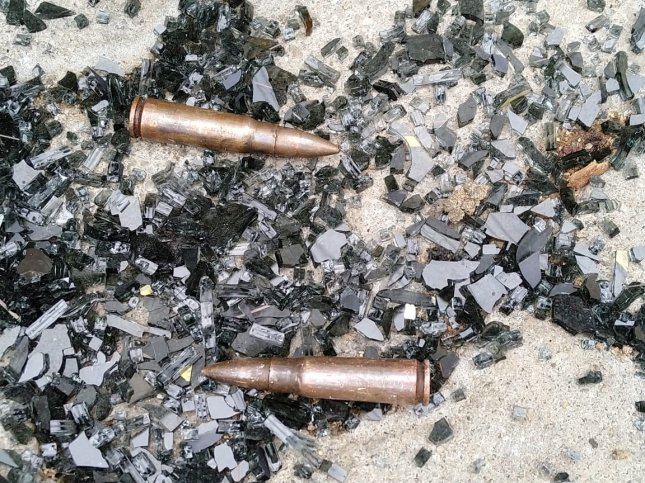 Bullets lie on ground Saturday at the site after a gun battle in Sainthamaruthu, Sri Lanka between suspected terrorists and military troops that left 16 people dead. Photo by EPA