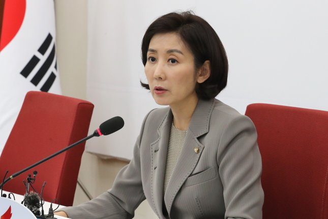 Rep. Na Kyung-won, floor leader of the Liberty Korea Party, has said her son did not receive preferential treatment at his private American high school. File Photo by Yonhap