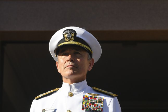 U.S. Pacific Commander Admiral Harry Harris attends a last post ceremony at the Australian War Memorial in Canberra, Australia, on March 7. Admiral Harry Harris has been chosen by President Donald Trump as the US Ambassador to Australia. Photo by EPA-EFE/Lukas Coch.