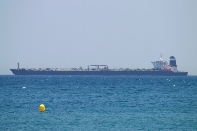 The oil tanker Grace 1, seen near the coast of La Linea de la Concepcion, Cadiz, southern Spain after it was seized by Gibraltar authorities and British Royal Marines in a joint operation July 4. A Panamanian-flagged tanker has been missing since Saturday in the Strait of Hormuz. Photo by A. Carrasco Ragel/EPA-EFE