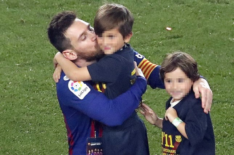 FC Barcelona star Lionel Messi has three sons, including: Thiago (C), Mateo (R) and Ciro. Photo by Alberto Estevez/EPA-EFE