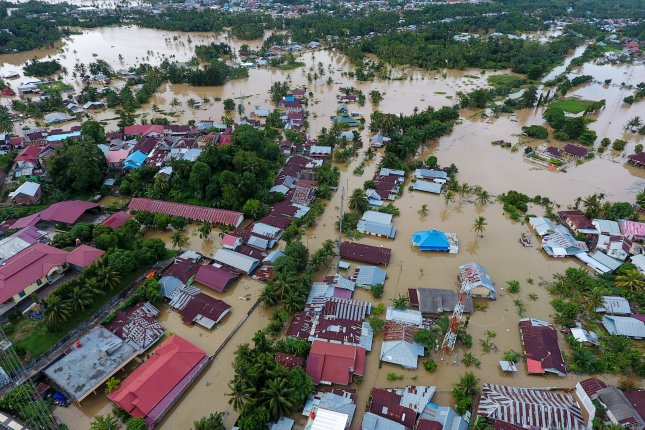 Widespread flooding in Bangkulu, Sumatra, Indonesia, on April 28, 2019, killed at least 17 people and displaced thousands. File Photo by Diva Marha/EPA-EFE