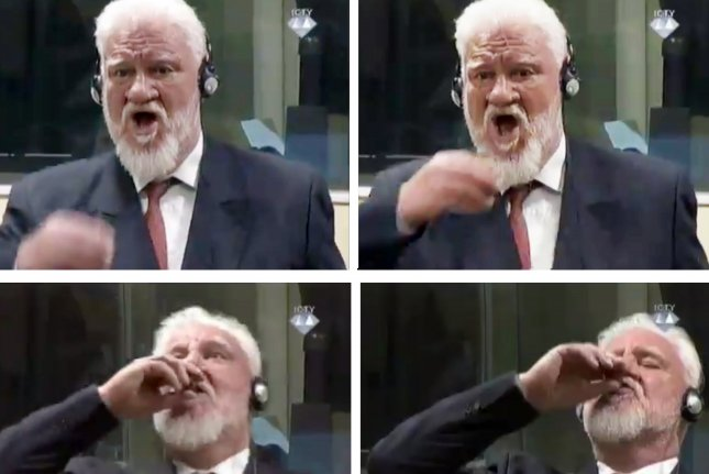 A series of four video stills show Slobodan Praljak drinking a substance in court Wednesday during an appeals judgement for war crimes he committed during the bloody break-up of Yugoslavia in the 1990s. Photo by EPA-EFE/ICTY