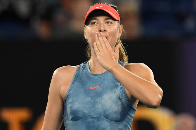Maria Sharapova of Russia celebrates her victory against Caroline Wozniacki of Denmark after their round three women's singles match on day five of the Australian Open on Friday in Melbourne, Australia. Photo by Lukas Coch/EPA-EFE