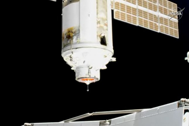 A still frame of a NASA video shows the Russian Nauka module approaching its dock at the International Space Station on Thursday. Photo courtesy of NASA