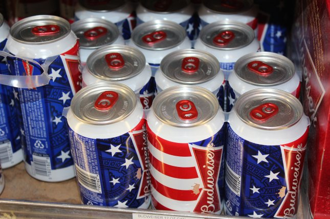 Budweiser has used patriotic-themed cans and bottles before, such as these pictured at a convenience store in Washington, D.C., years ago. Photo by Billie Jean Shaw/UPI