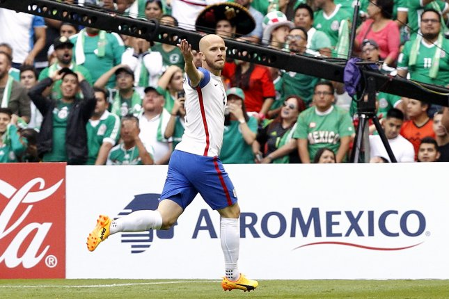 Michael Bradley of the USA celebrates after scoring against Mexico during a CONCACAF FIFA World Cup Russia 2018 qualifying soccer match between Mexico and the United States on Sunday at Azteca Stadium in Mexico City. Photo by Jorge Nunez/EPA