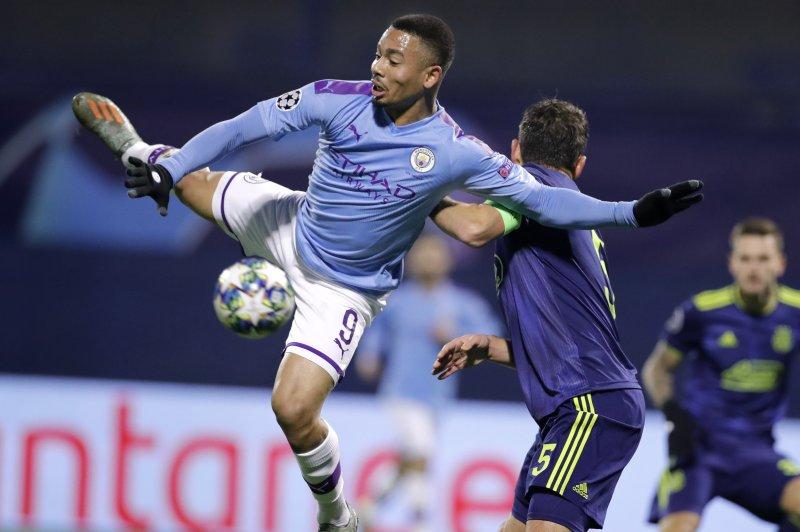 Champions League Soccer Gabriel Jesus Nets Hat Trick In Manchester City Win Upi Com