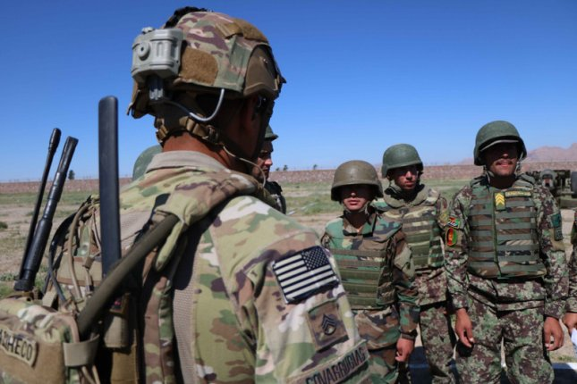 U.S. soldiers attend a training session for the Afghan Army in Herat, Afghanistan, on May 2, 2019. File Photo by Jalil Rezayee/EPA-EFE