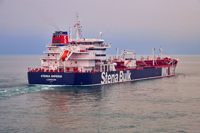 The Stena Impero was in Iranian custody Saturday while a second ship seized by the Iranian Revolutionary Guard Friday, the Mesdar, was allowed to continue its journey. File Photo courtesy Stena Bulk
