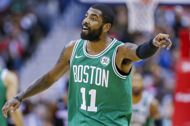 Boston Celtics guard Kyrie Irving had 30 points and 11 assists against the Oklahoma City Thunder on Sunday. Photo by Erik S. Lesser/EPA-EFE