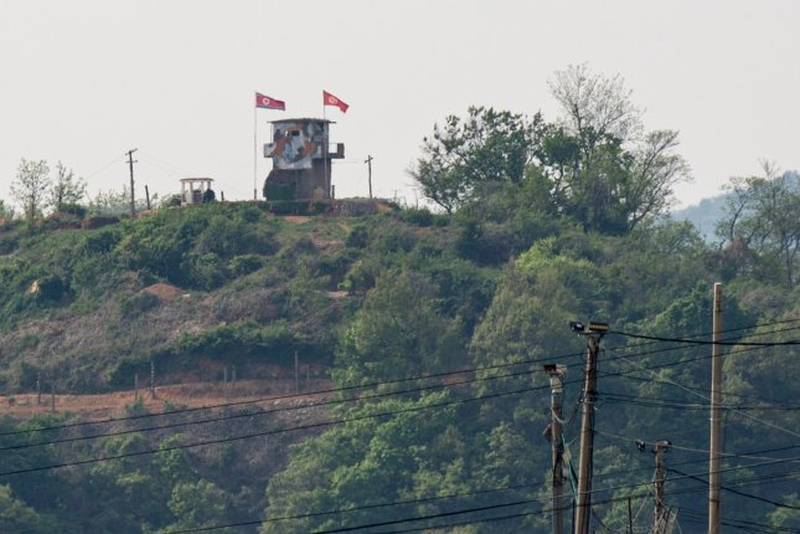 A North Korean frontier post is visible at the inter-Korean border near the city of Paju, Gyeonggi-do, South Korea, on Sunday. Photo by Jeon Heon-Kysun/EPA-EFE