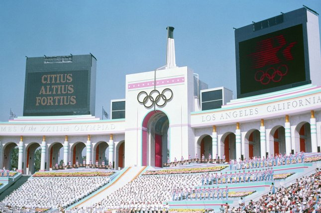 Olympic Torch Tower of the Los Angeles Coliseum on the day of the opening ceremonies of the XXIII Summer Olympics on July 28, 1984. UPI file photo