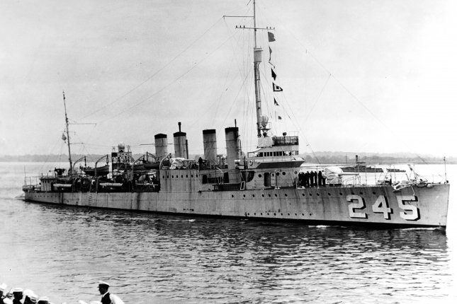 The USS Reuben James (DD-245) leaving the Philadelphia Navy Yard after being recommissioned by USS Dobbin (AD-3) on March 9, 1932. The destroyer was sunk October 31, 1941, after a German U-boat torpedoed it. File Photo by US Navy/UPI