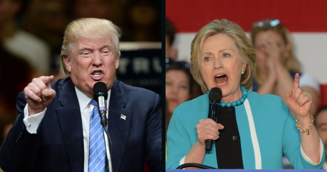 Donald Trump and Hillary Clinton are both viewed unfavorably by a record number of people for a major party presidential nominee. Trump's unfavorable rating is 70 percent, while Clinton's is 55 percent. UPI file photos