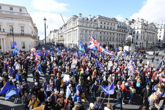 Thousands attend the People's Vote march against Brexit in London on Saturday.  Photo by Facundo Arrizabalaga/EPA-EFE