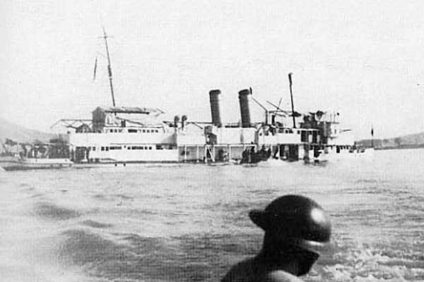 USS Panay sinking after Japanese air attack on Nanking, China, on December 12, 1937, in what became known as the Panay incident. File Photo courtesy the U.S. Signal Corps