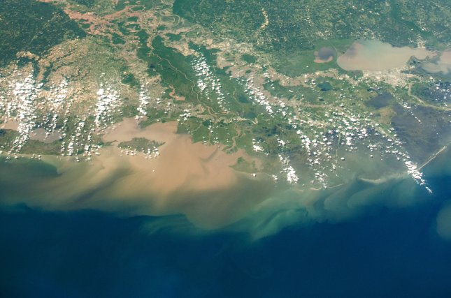 The Mississippi River delta is seen from the International Space Station on April 26. Photo courtesy of NASA