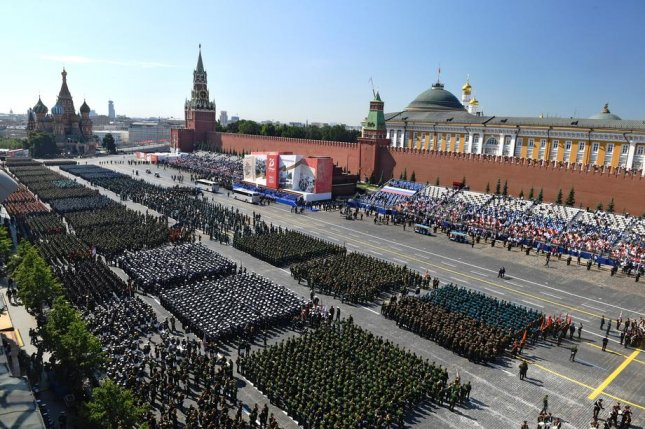 Parade formations are seen Wednesday before the 75th Victory Day parade in Moscow, Russia. Photo by Mikhail Voskresenskiy/EPA-EFE
