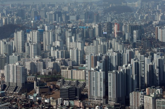 The median price of apartments in Seoul has risen 52 percent in the past three years since President Moon Jae-in assumed office despite government measures to stabilize housing prices, according to local press reports. File Photo by Yonhap/EPA-EFE