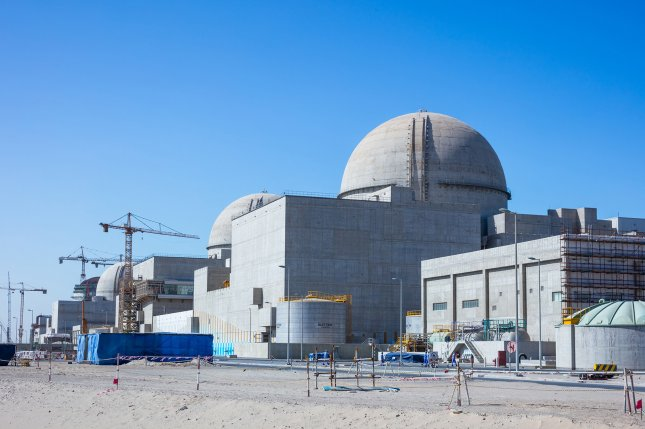 By the time all four reactors are online, they will be able to supply about a quarter of the nation's energy needs, officials said. Photo courtesy Emirates Nuclear Energy Corp./UPI