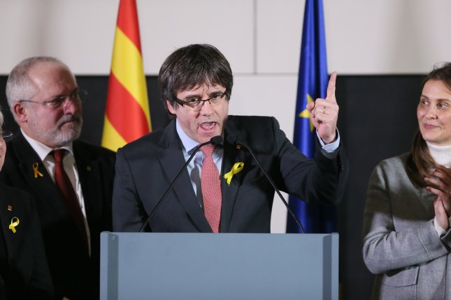 Ousted Catalan leader Carles Puigdemont delivered a speech from Brussels after pro-independence parties won a majority in the Spanish region's Parliament during a snap election on Thursday. Photo by Stephanie Lecocq/EPA