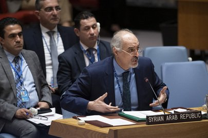 Bashar Ja'afari, permanent representative of the Syrian Arab Republic to the United Nations, addresses the Security Council over his country's objection to the United State's recognition of Israel's sovereignty over Golan Heights. Photo courtesy of United Nations