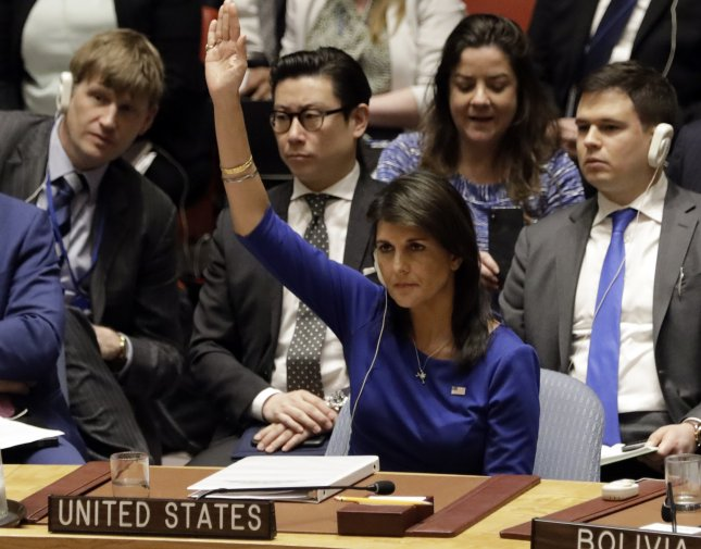 U.S. Ambassador to the United Nations Nikki Haley vetoed an Arab-backed resolution Friday that would offer international protection for Palestinian civilians. Photo by Jason Szenes/EPA