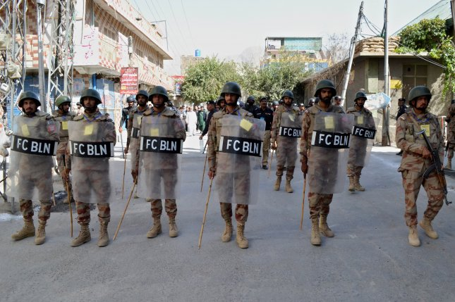 Riot police are seen in Quetta, Pakistan, on September 7. Officials said dozens of rioters were arrested over the weekend for demonstrating against a school administrator accused of blasphemy. Photo by Jamal Taraqai/EPA-EFE