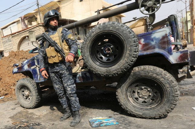 Iraqi security forces repelled Islamic State counterattacks launched on Sunday targeting areas that were previously captured by the government's military in west Mosul. File Photo by Ahmed Jalil/EPA