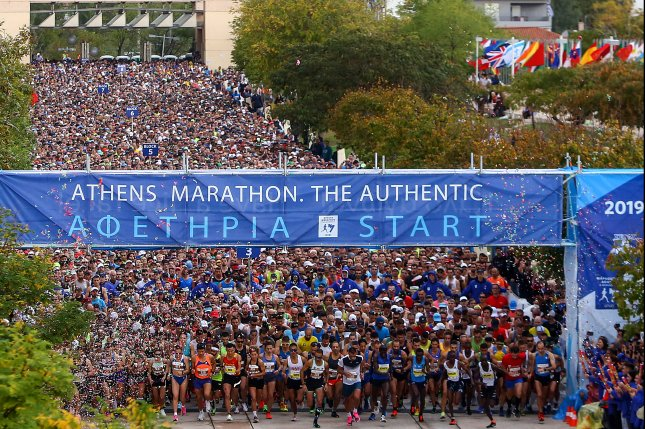 Briton Nick Butter was one more then 20,000 runners to complete the Marathon to Athens in Greece Sunday, completing his quest to run marathons in all 196 countries recognized by the United Nations. Photo by Stelios Misinas/EPA-EFE