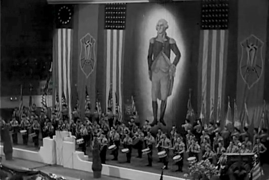 On February 20, 1939, tens of thousands of Nazi supporters gathered for a rally at New York City's Madison Square Garden to celebrate the rise of Adolf Hitler. File Photo courtesy of the Department of Defense