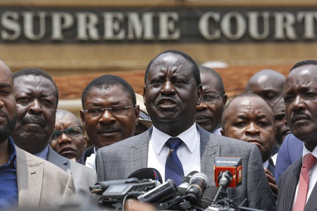 Opposition leader Raila Odinga (C) made his first public remarks since Kenya's elections commission declared that President Uhuru Kenyatta won re-election. File Photo by Dai Kurokawa/EPA-EFE