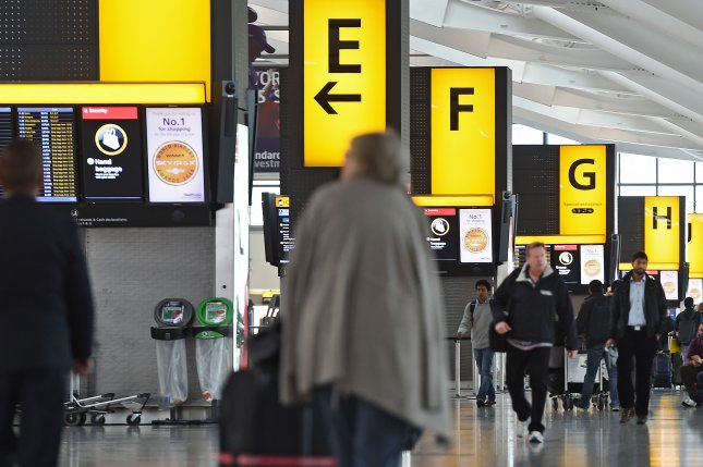 Heathrow Airport in London halted all departures for about 2 hours Tuesday after a drone sighting. File Photo by Andy Rain/EPA-EFE