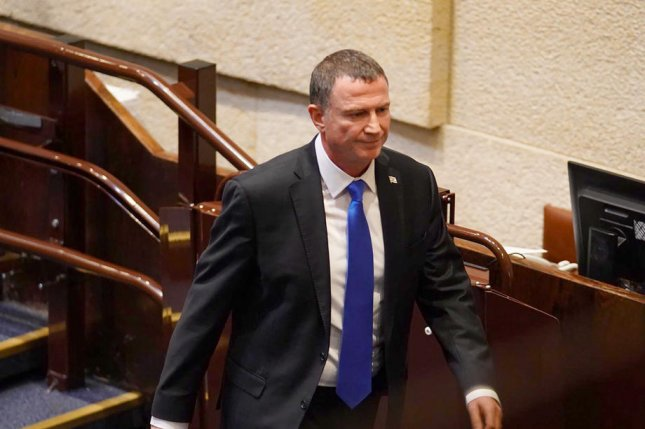Israeli Knesset Chairman Yuli Edelstein is seen in the parliamentary body on Wednesday following his resignation from his leadership post, in Jerusalem, Israel. Photo by Adina Wallman/EPA-EFE