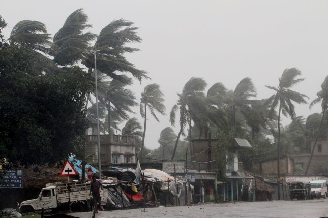 Heavy rain and wind lash India as Cyclone Amphan approaches the Odisha coast on Wednesday. Photo by Stringer/EPA-EFE
