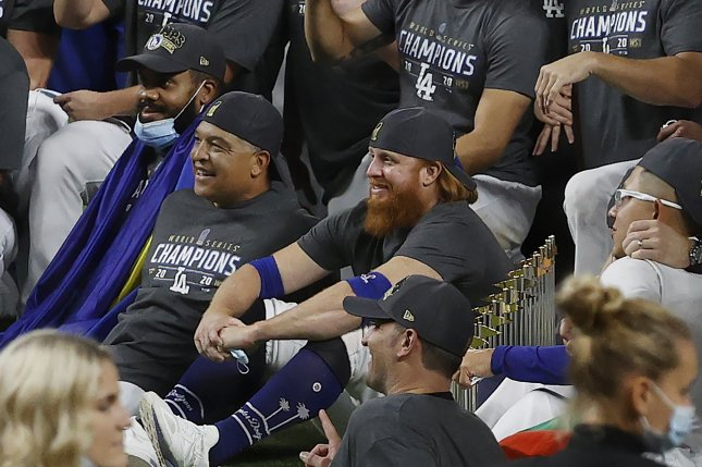 Los Angeles Dodgers third baseman Justin Turner (red beard) tested positive for COVID-19, but still celebrated a World Series title on the field with teammates Tuesday at Globe Life Field in Arlington, Texas. Photo by John G. Mabanglo/EPA-EFE