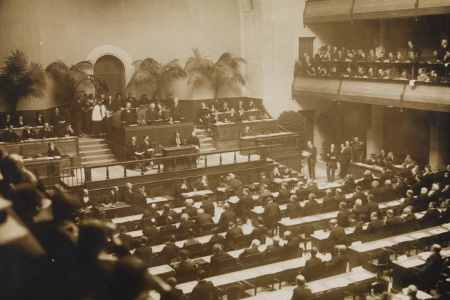 The official opening of the League of Nations on Nov. 15, 1920 in Geneva, Switzerland. File Photo courtesy National Library of Norway