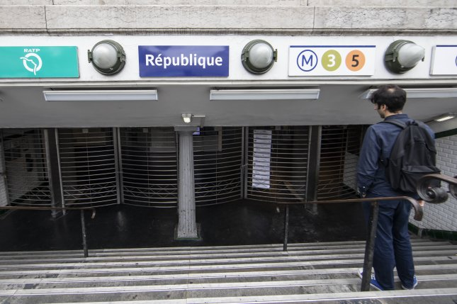 Access to a subway station is closed during a strike in Paris on Sept. 13. File Photo by Ian Langsdon/EPA-EFE