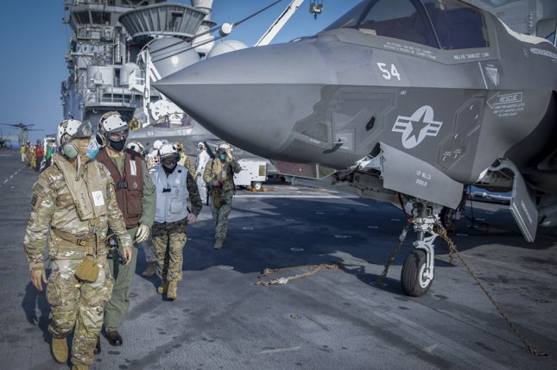 U.S. Army Gen. Stephen Townsend, commander of U.S. Africa Command, inspects an F-35B aboard the amphibious assault ship USS Makin Island during a multi-day engagement Jan. 16-18. Photo by MC2 Michael J. Lieberknecht/AFRICOM