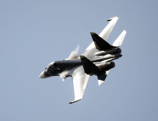 A Sukhoi Su-30 performs at the 2015 Moscow International Aviation and Space Salon. File Photo by Sergei Chirikov/EPA