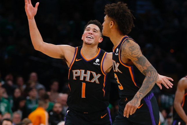 Phoenix Suns guard Devin Booker (L) has averaged 24.7 points, 4.3 assists and 3.8 rebounds this season. File Photo by C.J. Gunther/EPA-EFE